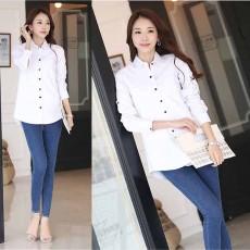 เสื้อเชิ้ต แฟชั่นเกาหลีสวยแขนยาวทำงานตัวยาวสไตล์วินเทจหรู นำเข้า ไซส์XXL สีขาว - พร้อมส่งTJ7664 ราคา1190บาท