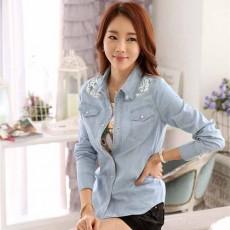 เสื้อเชิ้ตยีนส์ แฟชั่นเกาหลีสวยแขนยาวปักสไตล์วินเทจมีกระเป๋าเสื้อ ไซส์XL สีฟ้า - พร้อมส่งTJ7672 ราคา670บาท