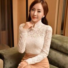 เสื้อลูกไม้แขนยาว แฟชั่นเกาหลีคอตั้งลูกไม้ทั้งตัวสวย นำเข้า ไซส์2XL สีขาว - พร้อมส่งTJ7675 ราคา1300บาท