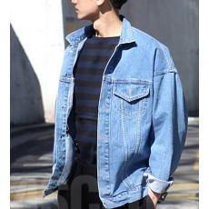 เสื้อแจ็คเก็ตยีนส์ ผู้ชายแฟชั่นเกาหลีแขนยาวเอวตรงทรงหลวมเทรนด์ใหม่ ฟรีไซส์ สียีนส์ฟอก - พร้อมส่งTJ7727M ราคา1190บาท