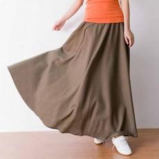 กระโปรงยาว แฟชั่นเกาหลีผ้าคอตตอนลินินแนววินเทจเอวยืดมีกระเป๋า นำเข้า สีน้ำตาล - พร้อมส่งTJ7749 ราคา1150บาท