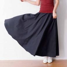 กระโปรงยาว แฟชั่นเกาหลีผ้าคอตตอนลินินแนววินเทจเอวยืดมีกระเป๋า นำเข้า สีน้ำเงิน - พร้อมส่งTJ7749 ราคา1150บาท