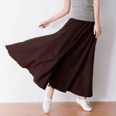 กระโปรงยาว แฟชั่นเกาหลีผ้าคอตตอนลินินแนววินเทจเอวยืดมีกระเป๋า นำเข้า สีกาแฟ - พร้อมส่งTJ7749 ราคา1150บาท