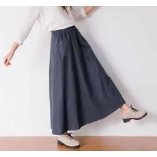 กระโปรงยาว แฟชั่นเกาหลีผ้าคอตตอนลินินแนววินเทจเอวยืดมีกระเป๋า นำเข้า สีเทา - พร้อมส่งTJ7749 ราคา1150บาท