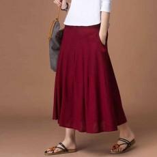 กระโปรงยาว แฟชั่นเกาหลีผ้าคอตตอนลินินแนววินเทจเอวยืดมีกระเป๋า นำเข้า สีแดง - พร้อมส่งTJ7749 ราคา1150บาท