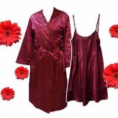 ชุดนอน2ชิ้น ผ้าซาตินหนานุ่มแฟชั่นแต่งลูกไม้อย่างดีสวยมาก นำเข้า สีแดงเข้ม - พร้อมส่งTJ7762 ราคา900บาท