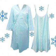 ชุดนอน2ชิ้น ผ้าซาตินหนานุ่มแฟชั่นแต่งลูกไม้เนื้อผ้าพิเศษใส่สบายแบบหรูหรา นำเข้า สีฟ้า - พร้อมส่งTJ7763 ราคา900บาท