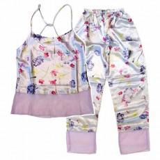 ชุดนอนกางเกง ผ้าซาตินแฟชั่นผู้หญิงชีฟองระบายหรูสไตล์เกาหลี นำเข้า สีม่วง - พร้อมส่งTJ7776ลดพิเศษ199บาท