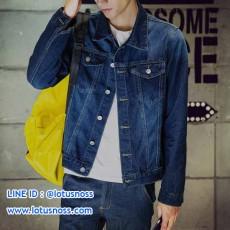 เสื้อแจ็คเก็ตยีนส์ ผู้ชายแฟชั่นเกาหลีแขนยาวเอวตรงทรงหลวมเทรนด์ใหม่ ฟรีไซส์ สียีนส์ - พร้อมส่งTJ7781 ราคา1190บาท