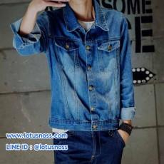 เสื้อแจ็คเก็ตยีนส์ ผู้ชายแฟชั่นเกาหลีแขนยาวเอวตรงทรงหลวมเทรนด์ใหม่ ฟรีไซส์ สียีนส์ - พร้อมส่งTJ7785 ราคา1190บาท