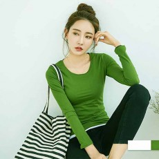 เสื้อยืดแขนยาว แฟชั่นเกาหลีผู้หญิงน่ารัก นำเข้า สีเขียว - พร้อมส่งTJ7796 ราคา250บาท