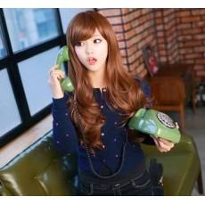 วิกผมยาว แบบสาวเกาหลีหน้าม้าปัดปลายดัดลอน นำเข้า สีน้ำตาล - พร้อมส่งW001 ราคา390บาท