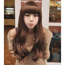 วิกผมยาว แบบสาวเกาหลีหน้าม้าปลายดัดลอนใหญ่สวย นำเข้า สีน้ำตาลอ่อน - พร้อมส่งW008 ราคา390บาท