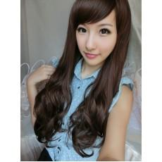 วิกผมยาว แบบสาวเกาหลีหน้าม้าปัดปลายดัดลอนสวยเซ็กซี่ นำเข้า สีน้ำตาล - พร้อมส่งW015 ราคา390บาท