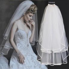 ผ้าคลุมผมเจ้าสาว เวลเจ้าสาว Bridal Veil ผ้าคลุมผมเจ้าสาวแบบยาวมีหวีสับลายริ้บบิ้นเรียบ นำเข้า - พร้อมส่งYA065 ราคา350บาท