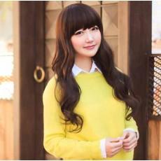 วิกผมยาว แบบสาวเกาหลีหน้าม้าผมหนานุ่มปลายดัดลอนสวยเส้นใยคุณภาพพิเศษ นำเข้า สีน้ำตาลเข้ม - พร้อมส่งW162 ราคา390บาท