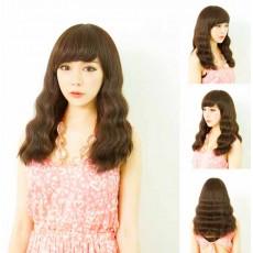 วิกผมยาว แบบสาวเกาหลีหน้าม้าดัดลอนเล็กผมเยอะนุ่มพิเศษ นำเข้า สีน้ำตาลอ่อน - พร้อมส่งW163 ราคา390บาท