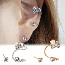 ต่างหูคลิป แฟชั่นเกาหลีหนีบด้านข้างใบหูสวย Crystal Clip Ear Cuff Stud Earring นำเข้า สีเงิน - พร้อมส่งW185 ราคา150บาท