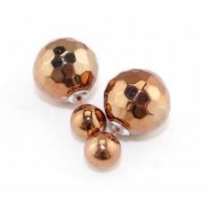 ต่างหูคริสตัล ใส่ได้2ด้านหรูหราใหม่แฟชั่นสวย Elegant Crystal Earrings นำเข้า สีบรอนซ์ทอง - พร้อมส่งW191 ลดราคา99บาท