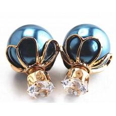 ต่างหูคริสตัล ใหม่แฟชั่นเกาหลีทรงมุกใส่ได้2ด้านสวยCelebrity Pearl Earrings นำเข้า สีน้ำเงิน - พร้อมส่งW199 ลดราคา99บาท