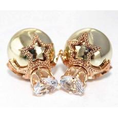 ต่างหูคริสตัล ใหม่แฟชั่นเกาหลีมุกใส่2ด้านสวยรูปดาว Celebrity Earrings นำเข้า สีทอง - พร้อมส่งW201 ลดราคา99บาท