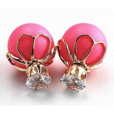 ต่างหูคริสตัล ใหม่แฟชั่นเกาหลีมุกใส่2ด้านสวยหรูหรา Celebrity Earrings นำเข้า สีชมพู - พร้อมส่งW202 ลดราคา99บาท
