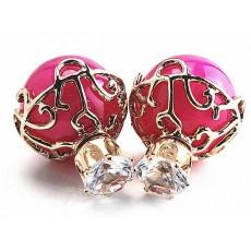 ต่างหูคริสตัล ใหม่แฟชั่นเกาหลีมุกใส่2ด้านสวยหรูหรา Celebrity Earrings นำเข้า สีชมพู - พร้อมส่งW203 ลดราคา99บาท