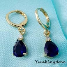 ต่างหูคริสตัล แฟชั่นเกาหลีทรงหยดน้ำทอง18Kสไตล์อัญมณี Gems Earrings นำเข้า สีน้ำเงิน - พร้อมส่งW206 ลดราคา99บาท