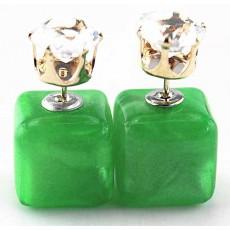 ต่างหูคริสตัล ใหม่แฟชั่นเกาหลีทรงกล่องใส่ได้2ด้านสวยCelebrity Pearl Earrings นำเข้า สีเขียว - พร้อมส่งW214 ลดราคา99บาท