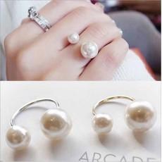 แหวนมุก2ด้าน ใหม่แฟชั่นเกาหลีสวยหรูหราปรับขนาดได้ Double Pearl Rings นำเข้า สีเงิน - พร้อมส่งW223 ลดราคา99บาท