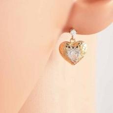 ต่างหูคริสตัล แฟชั่นเกาหลีดีไซน์หรูสไตล์แบรนด์รูปหัวใจ 9K Heart Earrings นำเข้า สีทอง - พร้อมส่งW233 รลดราคา99บาท