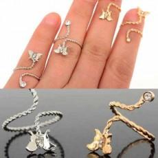 แหวนคริสตัล รูปผีเสื้อแฟชั่นเกาหลีปลายเปิดสวมนิ้วอินเทรนด์ Open Joint Ring  นำเข้า - พร้อมส่งW240 ราคา150บาท