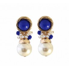 ต่างหูมุก แฟชั่นเกาหลีดีไซน์หรูสไตล์แบรนด์ทรงหยดน้ำ Blue Beads Earrings นำเข้า สีน้ำเงิน - พร้อมส่งW253 ลดราคา99บาท