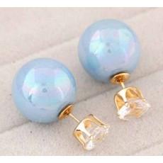 ต่างหูคริสตัล ใหม่แฟชั่นเกาหลีมุก2ด้านสวยCelebrity Pearl Earrings นำเข้า สีฟ้า - พร้อมส่งW262 ลดราคา99บาท
