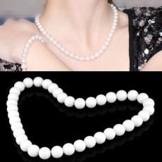 สร้อยคอมุก แฟชั่นเกาหลีสีขาวแบบสั้นใหม่สวยหรูหรา นำเข้า สีขาว WHITE PEARL NECKLACE - พร้อมส่งW263 ลดราคา99บาท