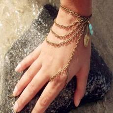 สร้อยข้อมือ แฟชั่นโบฮีเมียคล้องสายโซ่แต่งใบไม้หินสีฟ้า Multilayer Chain Bracelet นำเข้า สีทอง - พร้อมส่งW268 ราคา180บาท