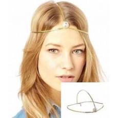 ที่คาดผมเกาหลี แฟชั่นสายโซ่คาดศีรษะแต่งคริสตัลหรูมาก Head Chain Headband นำเข้า สีทอง - พร้อมส่งW282 ราคา220บาท