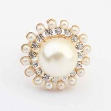 แหวนแฟชั่นเกาหลี ประดับมุกคริสตัลดอกไม้ทอง14Kหรูปลายเปิดปรับขนาดได้ นำเข้า สีทอง - พร้อมส่งW298 ราคา300บาท