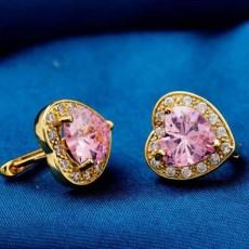 ต่างหูคริสตัล แฟชั่นเกาหลีรูปหัวใจ18Kสไตล์อัญมณี Gems Earrings นำเข้า สีชมพู - พร้อมส่งW302 ลดราคา99บาท