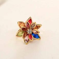 แหวนแฟชั่นเกาหลี รูปดอกไม้ประดับคริสตัลสังเคราะห์หลากสีทองแท้เนื้อ 14K นำเข้า ไซส์6.5 สีทอง - พร้อมส่งW325 ลดราคา99บาท