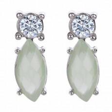 ต่างหูคริสตัล แฟชั่นทองคำขาว14Kหรูคู่เพชรสวิสสีเขียวอ่อน CZ White Gold Earrings นำเข้า - พร้อมส่งW326 ลดราคา99บาท