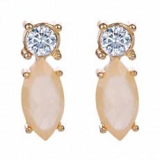 ต่างหูคริสตัล แฟชั่นทองคำ14Kหรูคู่เพชรสวิสสีเหลืองอ่อน CZ White Gold Earrings นำเข้า - พร้อมส่งW326 ลดราคา99บาท