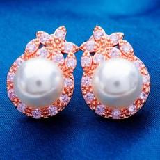 ต่างหูมุก แฟชั่นเกาหลีประดับเพชรสวิสสไตล์อัญมณี CZ Rose Gold Pearl Earrings นำเข้า สีชมพู - พร้อมส่งW334 ราคา199บาท