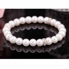 กำไลมุก แฟชั่นเกาหลีประดับคริสตัลสายยืดหยุ่นสวมสวยหรูหรา Pearl Bracelet นำเข้า สีขาว - พร้อมส่งW340 ลดราคา119บาท
