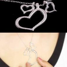 สร้อยคอแฟชั่นเกาหลี รูปหัวใจซ้อน3ดวง Sweet Love Heart Necklace นำเข้า สีเงิน - พร้อมส่งW343 ราคา 250 บาท