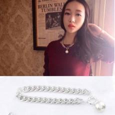 สร้อยคอมุก แฟชั่นเกาหลีสายโซ่ใหญ่เทรนด์วินเทจสวยหรู Chain Pearl Necklace นำเข้า สีเงิน - พร้อมส่งW344 ราคา 300 บาท