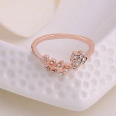 แหวนแฟชั่นเกาหลี รูปดอกไม้ประดับคริสตัลสังเคราะห์ทองแท้เนื้อ 14K นำเข้า ไซส์8.5 สีทอง - พร้อมส่งW348 ลดราคา99บาท