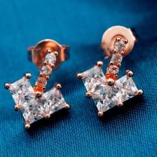 ต่างหูเพชร แฟชั่นเกาหลีประดับเพชรสวิสรูปหัวใจ CZ Rose Gold Earrings นำเข้า สีขาว - พร้อมส่งW358 ลดราคา99บาท