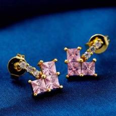 ต่างหูเพชร แฟชั่นเกาหลีทองคำรูปหัวใจ CZ Gold Earrings นำเข้า สีชมพู - พร้อมส่งW358 ลดราคา99บาท