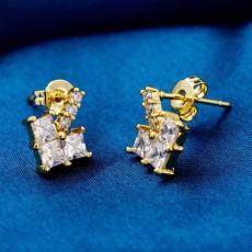 ต่างหูเพชร แฟชั่นเกาหลีประดับเพชรสวิสรูปหัวใจ CZ Gold Earrings นำเข้า สีขาว - พร้อมส่งW358 ลดราคา99บาท